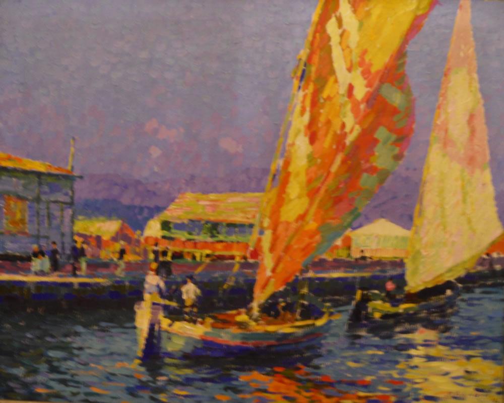 Gustav Lehmann, Boats in Viareggio, 1910, Private collection, Braunschweig